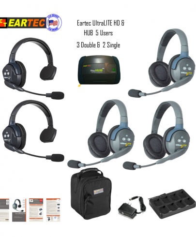 Eartec Hub523 Ultralite HD & Hub  5 Users 2 Single & 3 Double Headsets