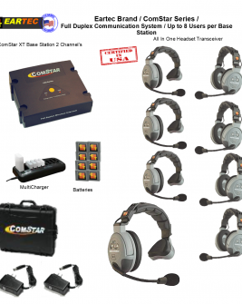 Eartec Comstar XT844 8/Pers Full Duplex System All In One Headset Intercom Systems Eartec