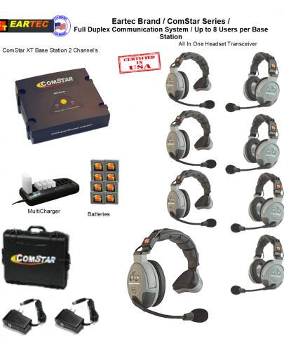 Eartec Comstar XT844 8/Pers Full Duplex System All In One Headset