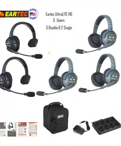 Eartec Ul523 Ultralite 5 Pers. System W/ 2 Single & 3 Double Headsets