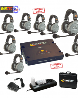 Eartec Comstar XT88D 8/Pers Full Duplex System All In One Headset Intercom Systems Eartec