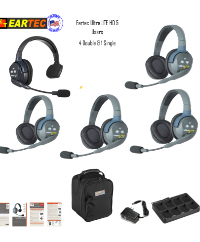 Eartec Ul514 Ultralite 5 Pers. System W/ 1 Single & 4 Double Headsets