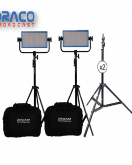 Dracast LED500 Plus Series Bi-Color 2 Light Kit with V-Mount and Gold Mount Battery Plates and Light Stands Kit Lights Draco Broadcast