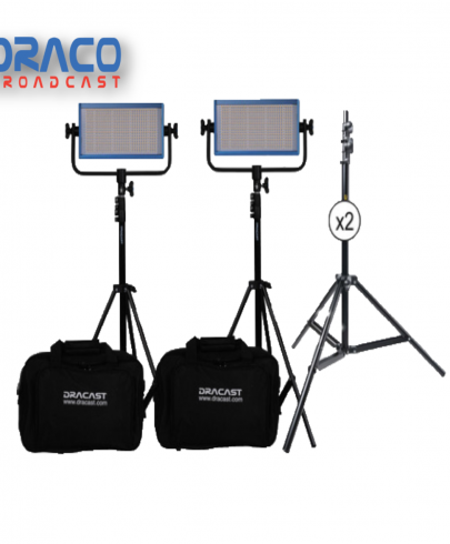 Dracast LED500 Plus Series Bi-Color 2 Light Kit with V-Mount and Gold Mount Battery Plates and Light Stands Continuous Lighting Draco Broadcast