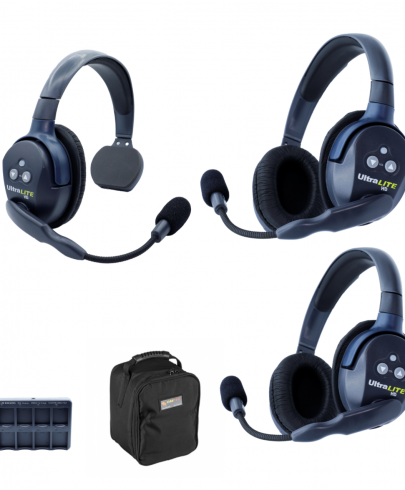 Eartec UL312 Ultralite HD 3 Person System W/ 1 Single 2 Double Headsets, Batteries, Charger & Case