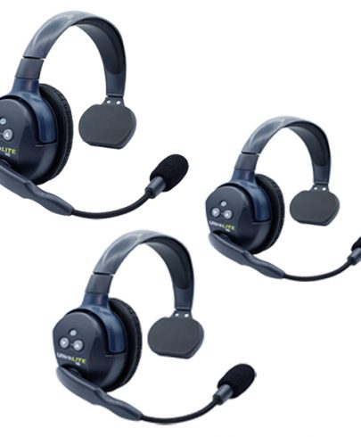 Eartec UL3S Ultralite HD 3 Person System W/ 3 Single Headsets, Batteries, Charger & Case