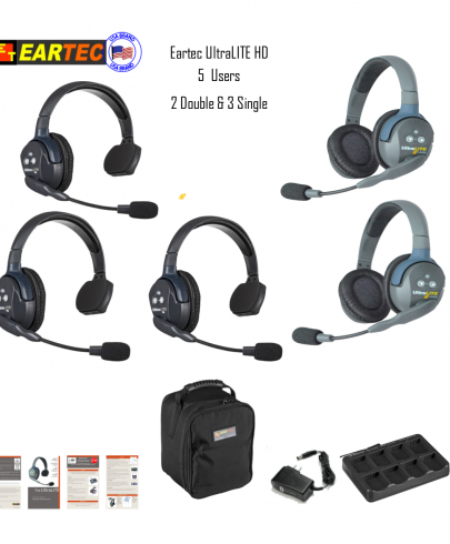 Eartec Ul532 Ultralite 5 Pers. System W/ 3 Single & 2 Double Headsets