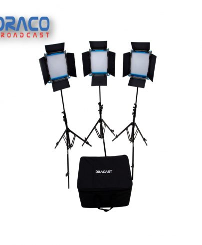 Dracast S-Series Led500 Bi-Color 3 Light Kit With V-Mount Battery Plates And Soft Case Continuous Lighting Draco Broadcast