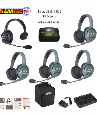 Eartec Hub514 Ultralite HD & Hub  5 Users 1 Single & 4 Double Headsets
