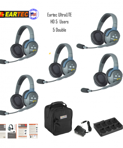 Eartec Ul5D Ultralite 5 Pers. System W/ 5 Double Headsets