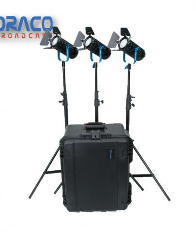 Dracast Boltray Plus 600 Bi-Color 3 Light Kit with Dual NP-F Battery Plates and Injection Molded Travel Case Continuous Lighting Draco Broadcast