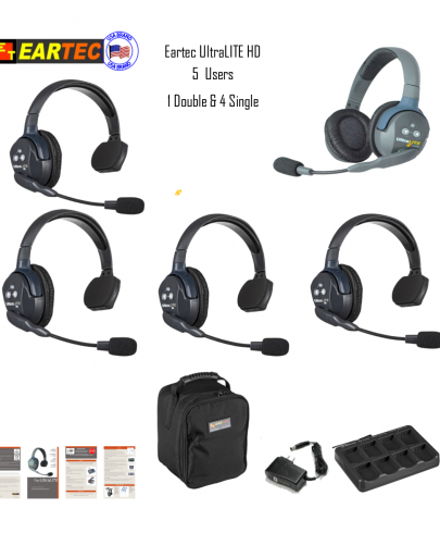 Eartec Ul541 Ultralite 5 Pers. System W/ 4 Single & 1 Double Headsets