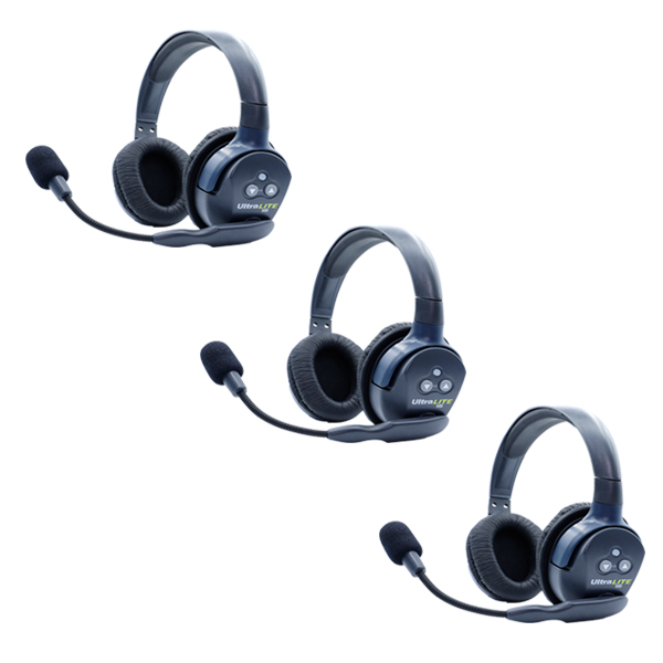 Eartec Ultralite HD 3 Person System W/ 3 Double Headsets, Batteries, Charger & Case Intercom Systems Eartec