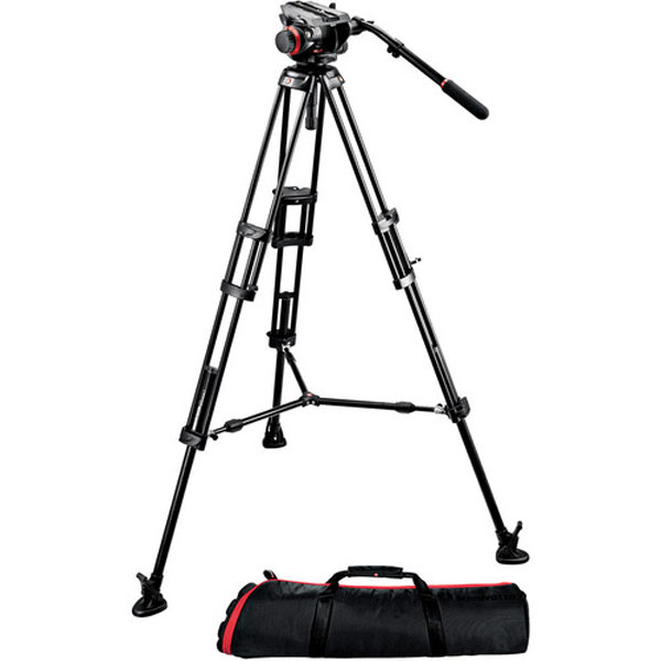 Manfrotto 504HD Head with 546GB 2-Stage Aluminum Tripod System Pro Video Manfrotto