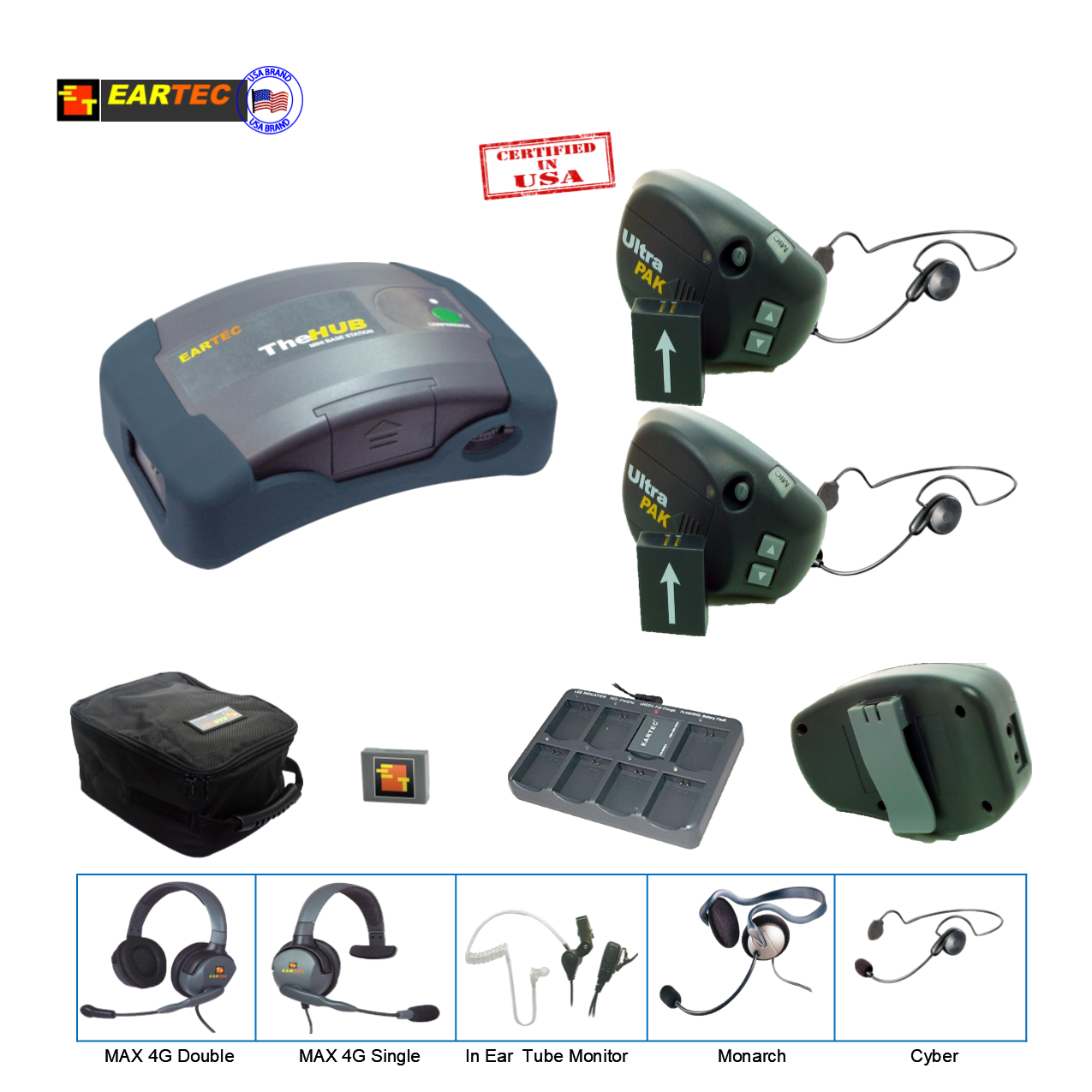 Eartec UPCYB2 UltraPAK 2-Person HUB Intercom System with Cyber Headset Communications & IFB Eartec