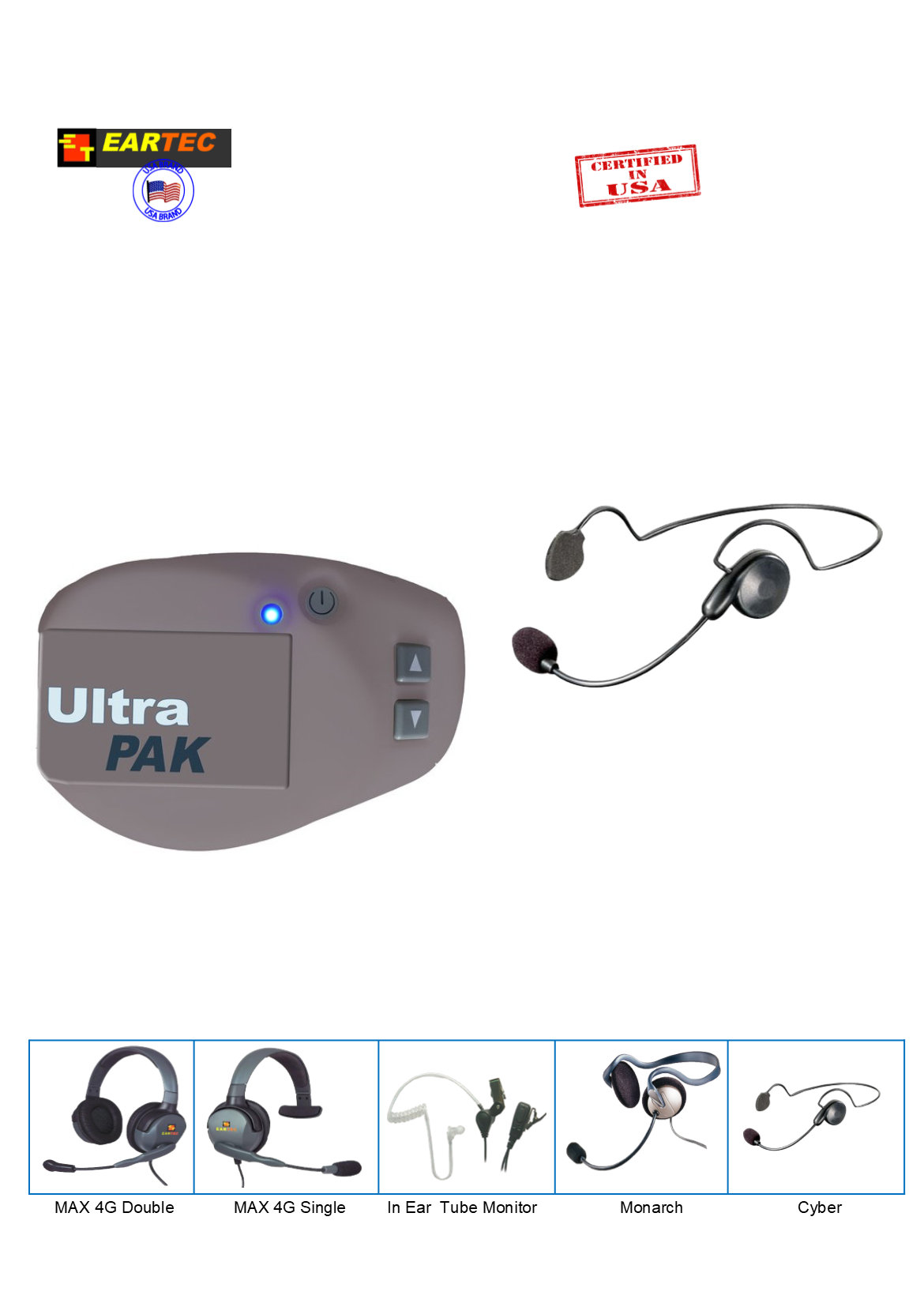 Eartec UPCYB1 UltraPAK Intercom System with Cyber Headset Intercom Systems Eartec