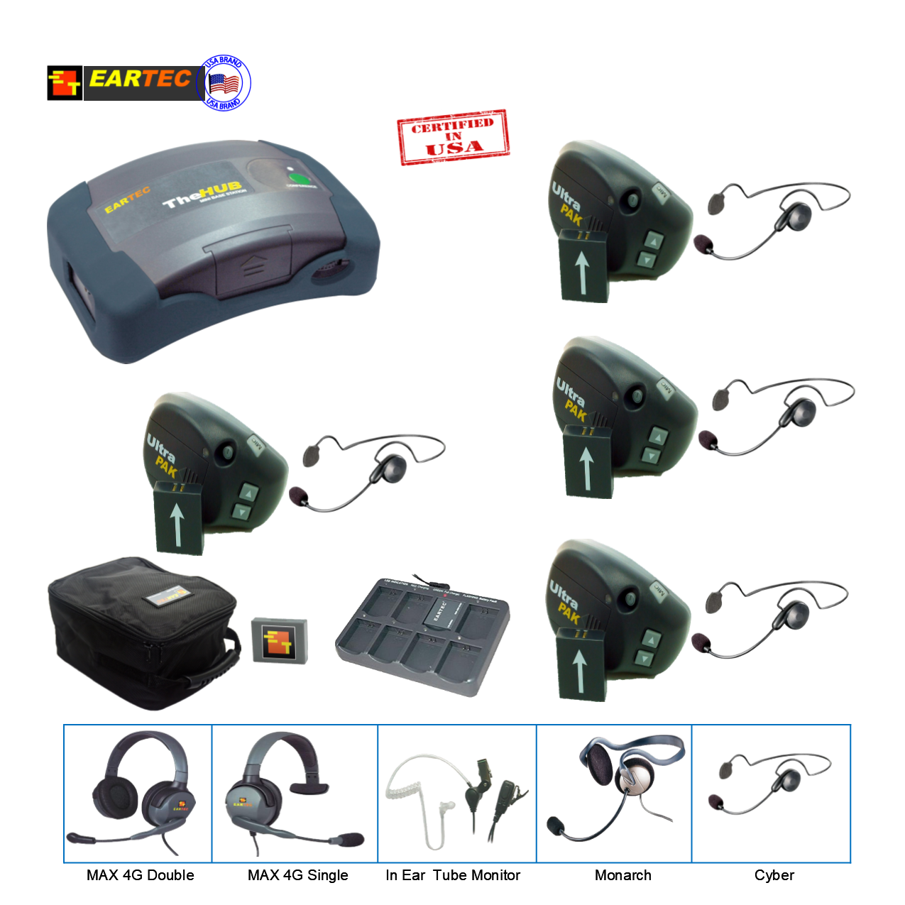 Eartec UPCYB4 Ultrapak & Hub 4Pers W/ 4 Cyber Headset Communications & IFB Eartec