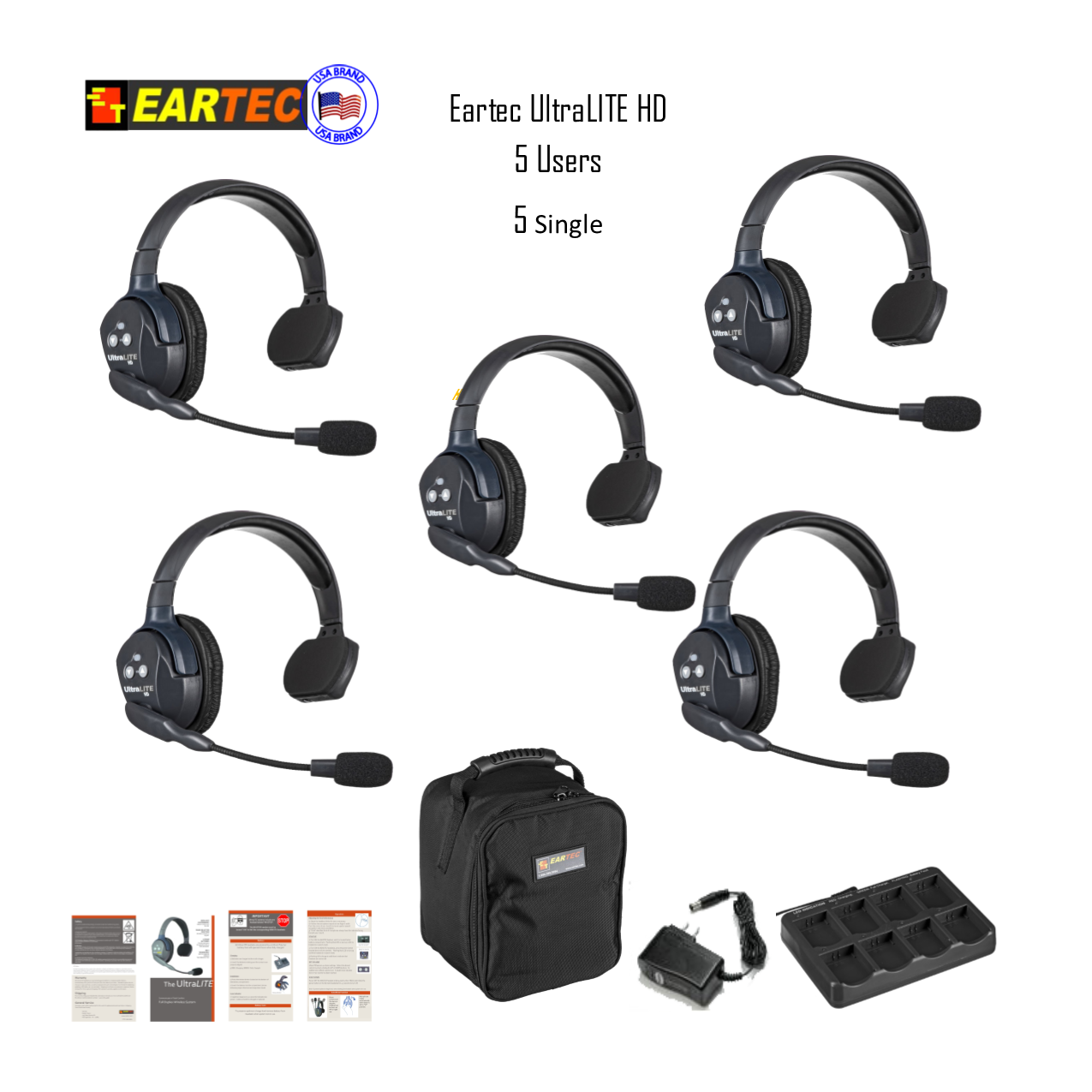 Eartec Ul5S Ultralite 5 Pers. System  5 Single Headsets Intercom Systems Eartec