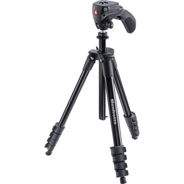 Manfrotto Compact Action Aluminum Tripod (Black) Pro Video Manfrotto