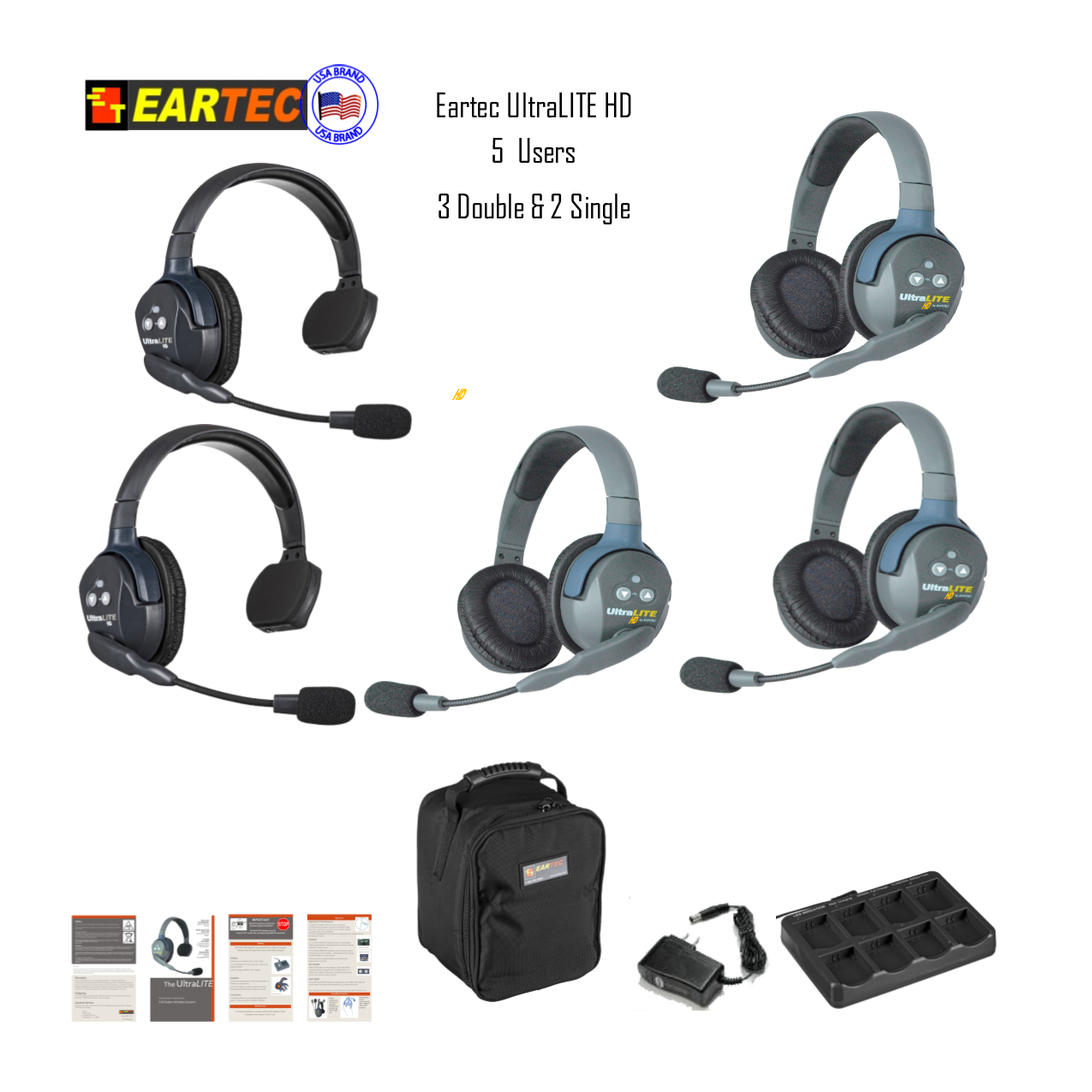 Eartec Ul523 Ultralite 5 Pers. System W/ 2 Single & 3 Double Headsets Intercom Systems Eartec