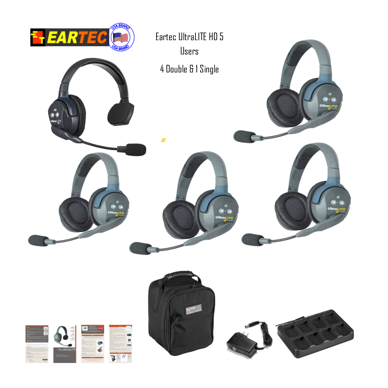 Eartec Ul514 Ultralite 5 Pers. System W/ 1 Single & 4 Double Headsets Intercom Systems Eartec