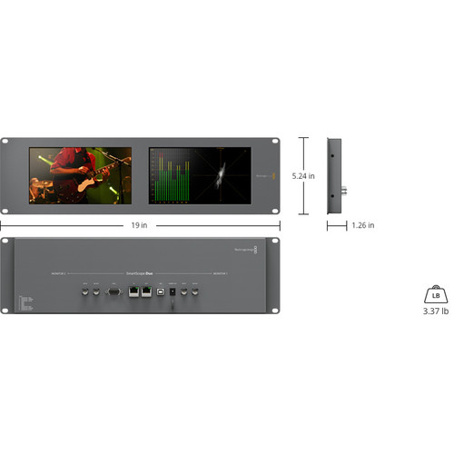 Blackmagic Design SmartScope Duo 4K Rack-Mounted Dual 6G-SDI Monitors Monitors Black Magic