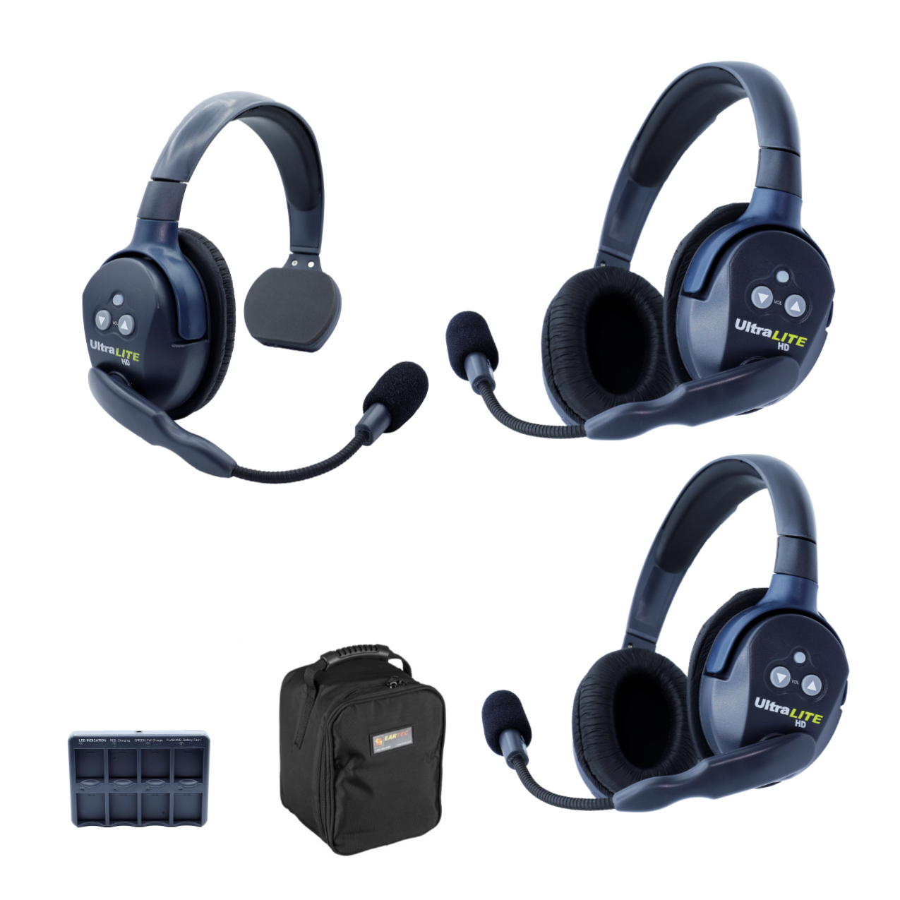 Eartec UL312 Ultralite HD 3 Person System W/ 1 Single 2 Double Headsets, Batteries, Charger & Case Wireless Intercom [tag]