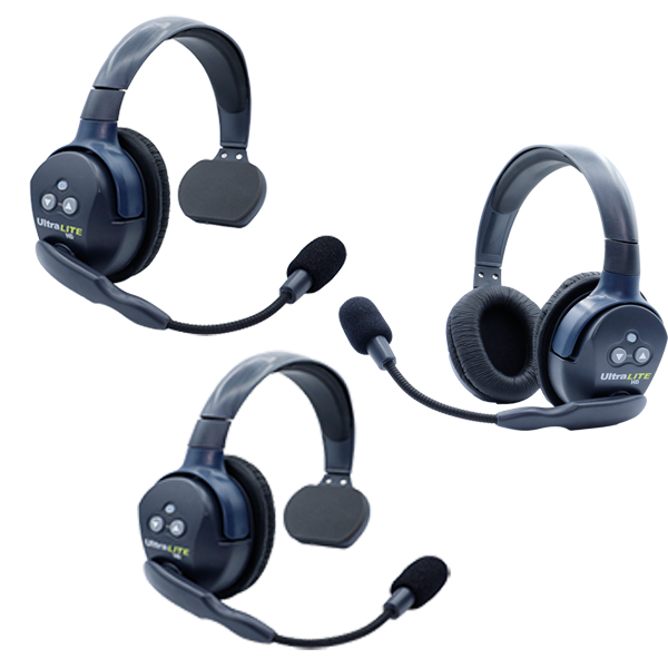 Eartec UL321 Ultralite HD  3 Person System W/ 2 Single 1 Double Headsets, Batteries, Charger & Case Wireless Intercom [tag]