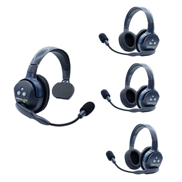 Eartec Ul413 Ultralite 4 Pers. System W/ 1 Single & 3 Double Headsets Wireless Intercom [tag]
