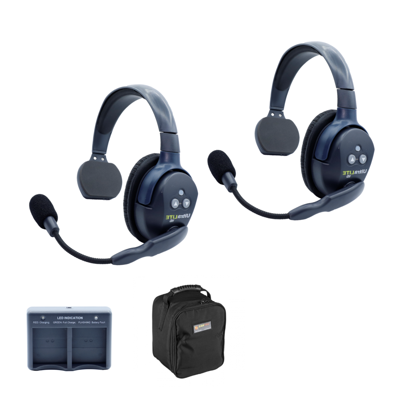 Eartec Ultralite HD 2 Person System W/ 2 Single Headsets, Batteries, Charger & Case Communications & IFB [tag]