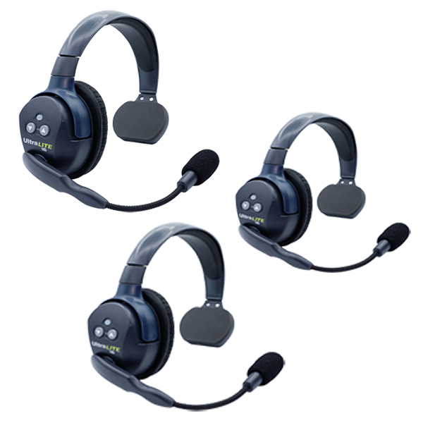 Eartec UL3S Ultralite HD 3 Person System W/ 3 Single Headsets, Batteries, Charger & Case Communications & IFB