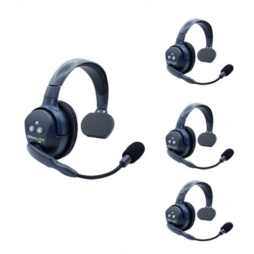 Eartec  Ultralite HD 4 Person System W/ 4 Single Headsets, Batteries, Charger & Case Communications & IFB