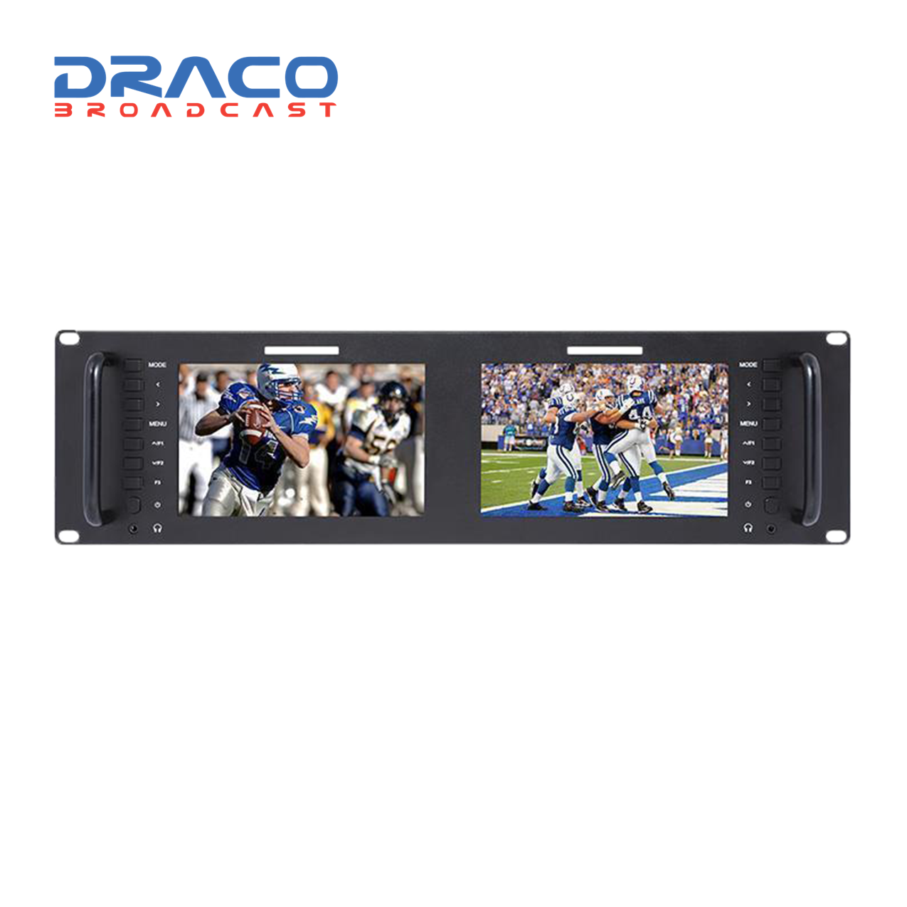 Laizeske Dual 7″ IPS 1280 x 800 LCD Rackmount Monitor with 3G-SDI & HDMI (3 RU) Monitors Draco Broadcast
