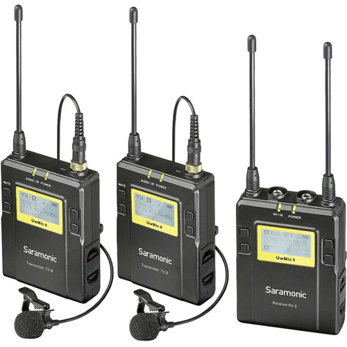 Saramonic UwMic9 2-Person Camera-Mount Wireless Omni Lavalier Microphone System Pro Audio audio
