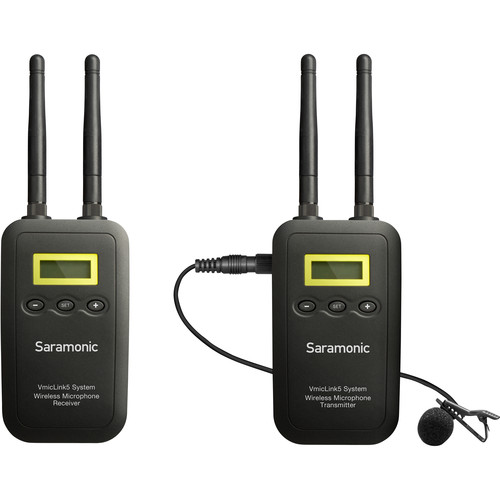Saramonic VmicLink5 RX+TX Camera-Mount Digital Wireless Microphone System with Bodypack Transmitter and Lavalier Mic Audio audio