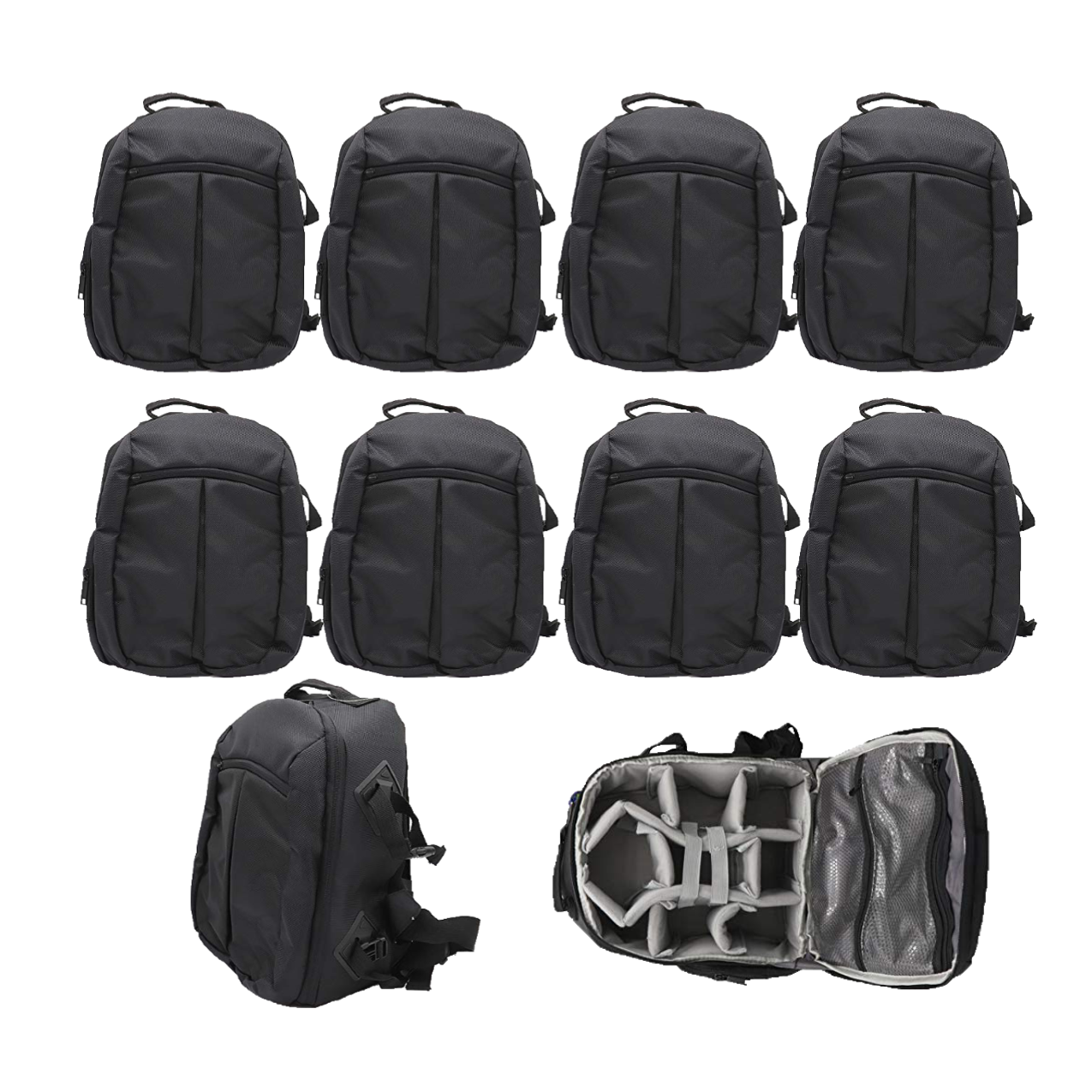 Solibag Slr Camera Travel Backpack Waterproof Carry Bag For Canon, Nikon, Sony, Pentax Black Shoulder Case -7001 Pack Of 10Pcs Camera Bags Camera Bags