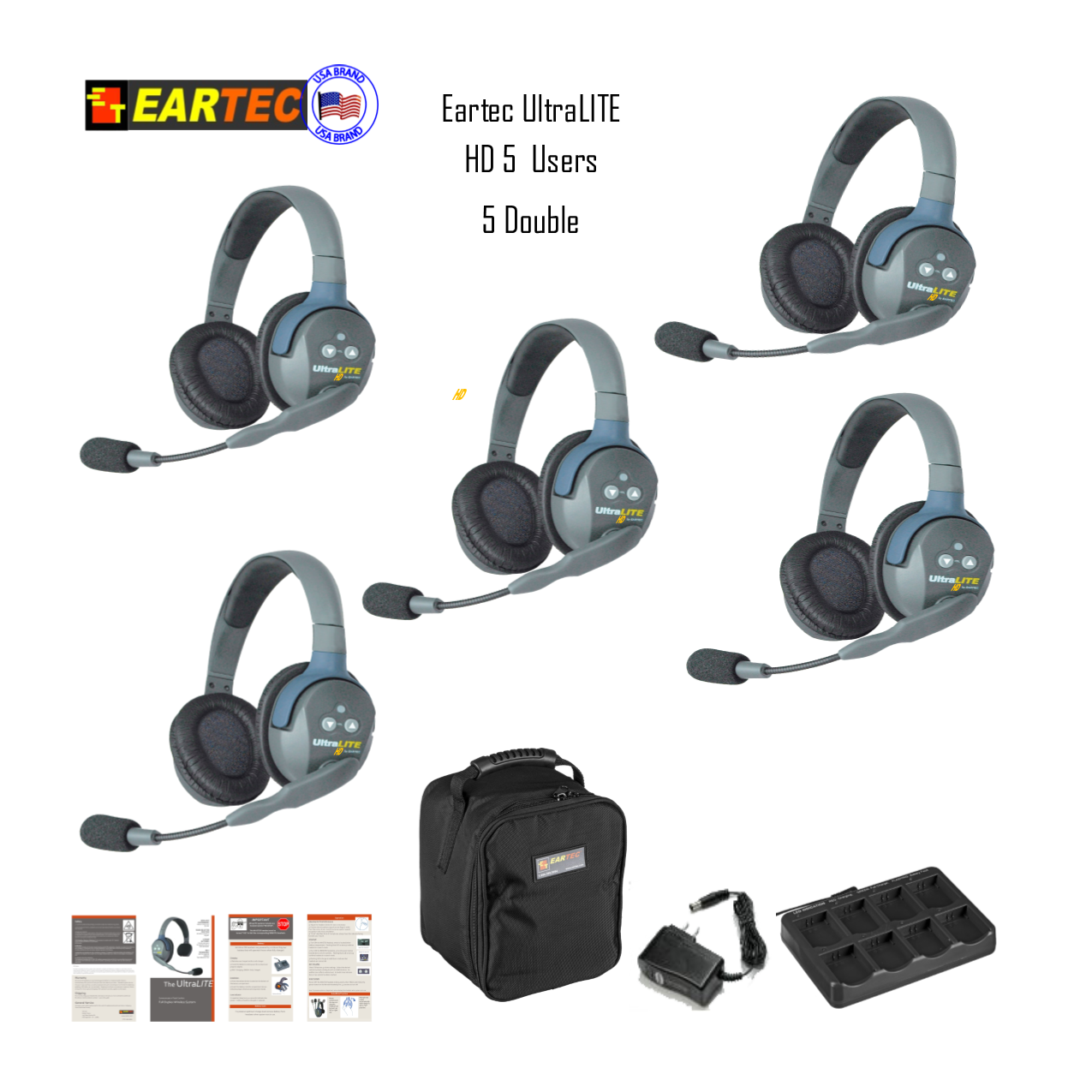 Eartec Ul5D Ultralite 5 Pers. System W/ 5 Double Headsets Intercom Systems Eartec