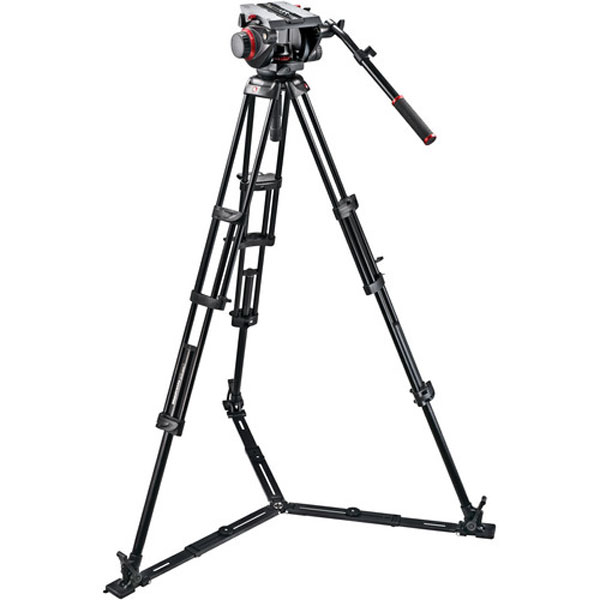 Manfrotto 509HD Video Head & 545GB Aluminum Tripod Pro Ground-Twin Kit 100 Photography Manfrotto