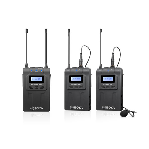 BOYA BY-WM8 Pro-K2 UHF Dual-Channel Wireless Lavalier System (576.4 to 599.9 MHz, 568.6 to 592 MHz)