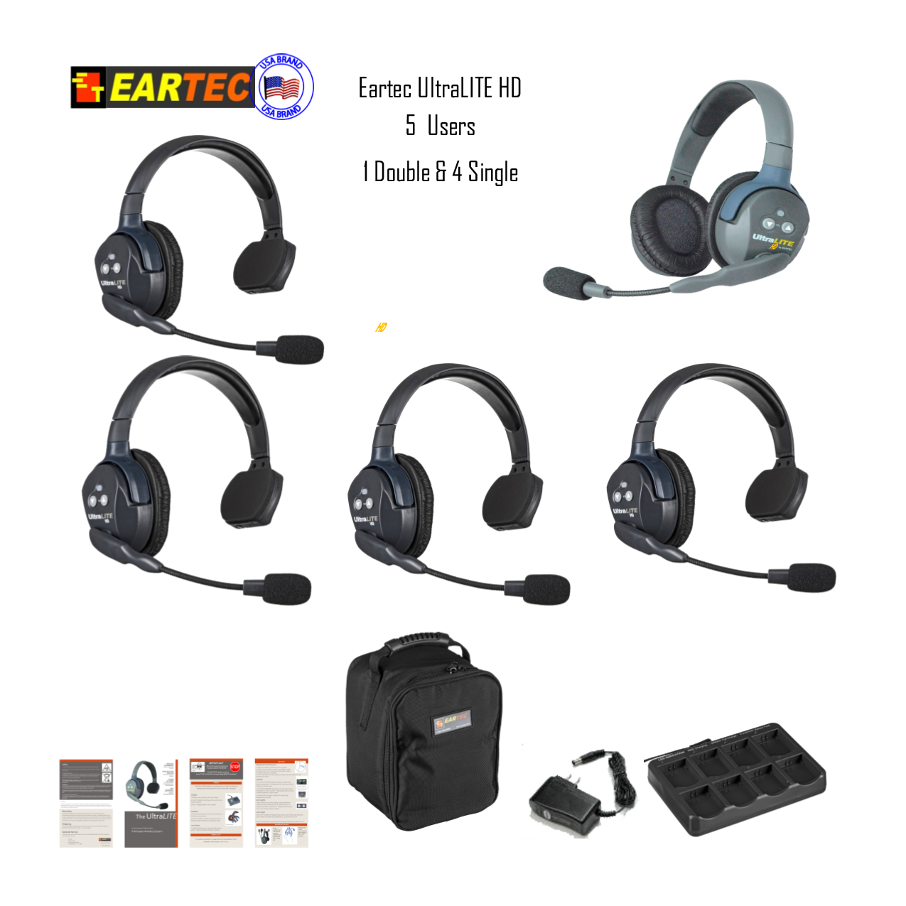 Eartec Ul541 Ultralite 5 Pers. System W/ 4 Single & 1 Double Headsets Intercom Systems Eartec