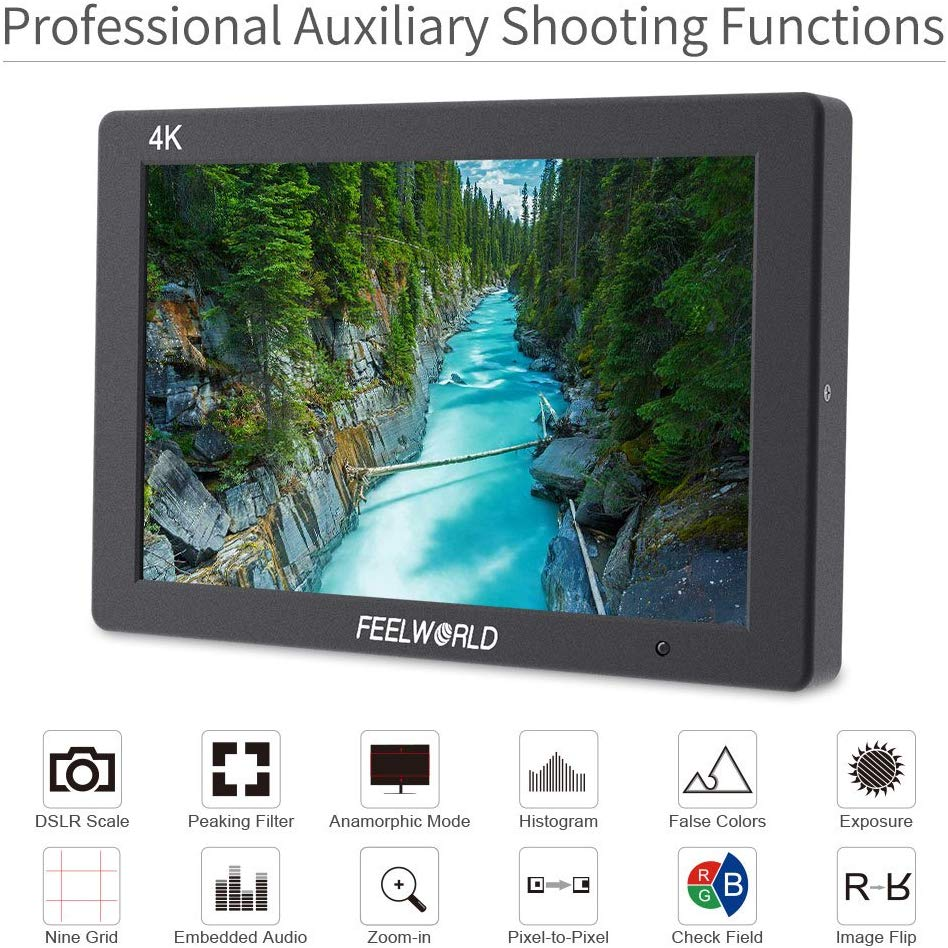 FEELWORLD T7 7″ DSLR On Camera Field Monitor Video Assist Full HD 1920×1200 4K HDMI Input Output Pro Video [tag]