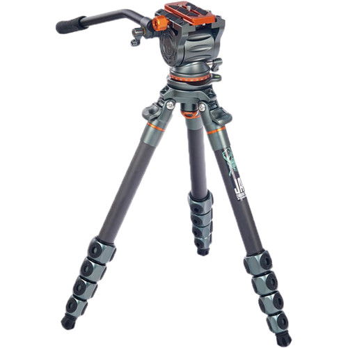 3 Legged Thing Jay Carbon Fiber Tripod with Quick Leveling Base and AirHed Cine-A Fluid Head System Pro Video 3 Legged Thing