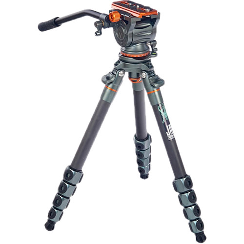 3 Legged Thing Jay Carbon Fiber Tripod with Quick Leveling Base and AirHed Cine-S Fluid Head System Pro Video 3 Legged Thing