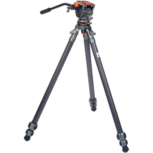 3 Legged Thing Mike Carbon Fiber Tripod with Quick Leveling Base and AirHed Cine-A Fluid Head System Pro Video 3 Legged Thing