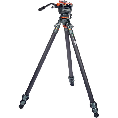 3 Legged Thing Mike Carbon Fiber Tripod with Quick Leveling Base and AirHed Cine-S Fluid Head System Pro Video 3 Legged Thing