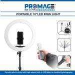 Promage 18 Inch Ring Light LED With Stepless Dimming, 180 Degree Rotating & USB Interface Professional Lighting Led Lighting