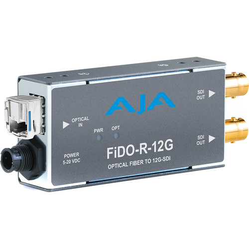 AJA 1-Channel Single-Mode LC Fiber to 12G-SDI Receiver Extenders, Repeaters & KVMs AJA