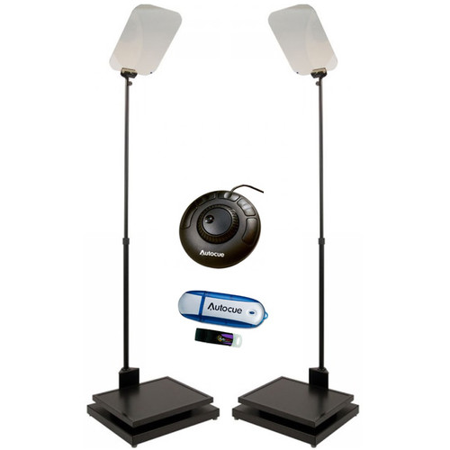 Autocue/QTV 2×17″ Manual Conference Stand Package Pro Video Autocue