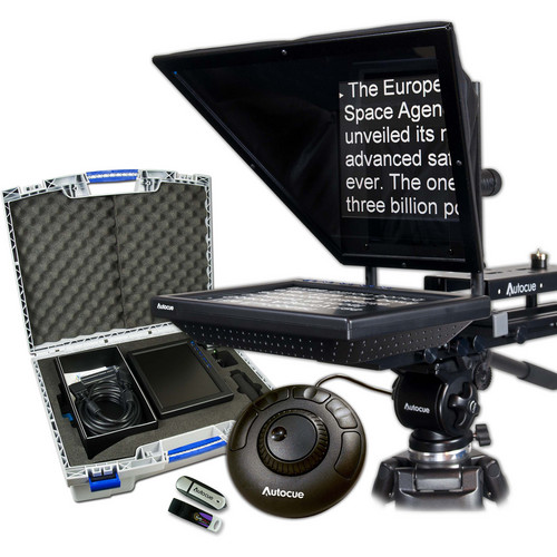 Autocue/QTV 10″ Prompter Package, QStart, Controller & Carry Case Pro Video Autocue