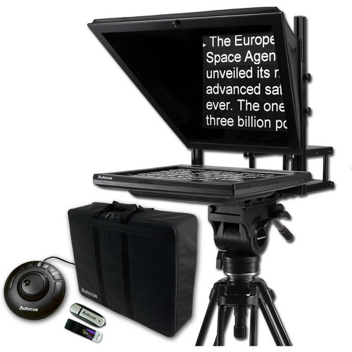 Autocue/QTV 17″ Prompter Package, QStart, Controller & Carry Case Pro Video Autocue
